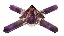 Amethyst Pyramid Reiki Healing Crystal Symbol Spiritual Energy Generator 4 Point