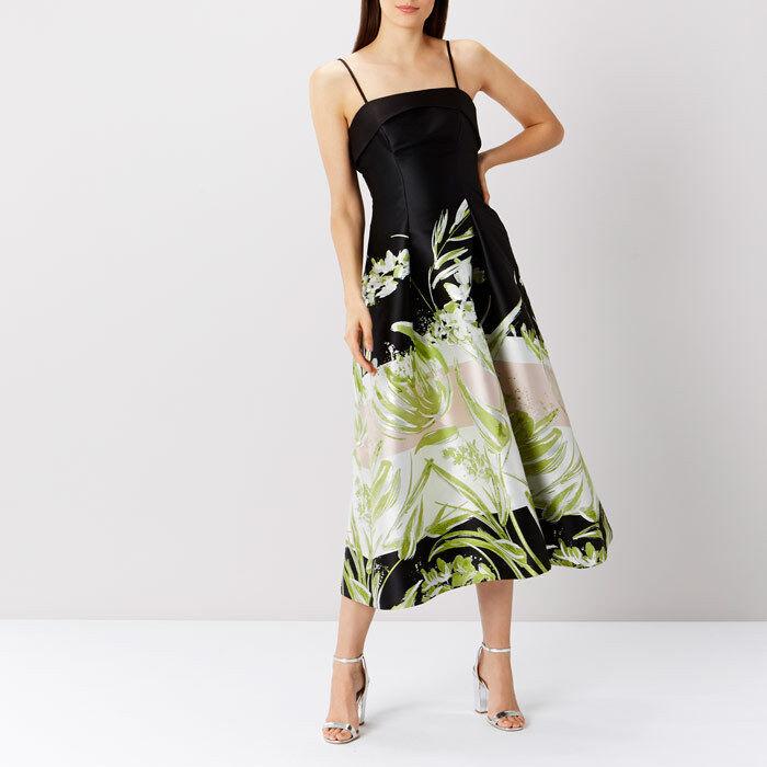 Coast Eda Jacquard Print Dress schwarz Grün Größe 14 rrp    SA079 OO 01