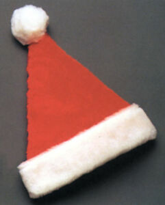 4ef9ba19fa1b5 Santa Deluxe Plush Red Hat With White Trim   Pom-Pom Christmas Rasta ...