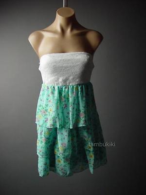 Sweet White Lace Twofer Blue Chiffon Floral Print Tiered Ruffle Mini 75 mv Dress