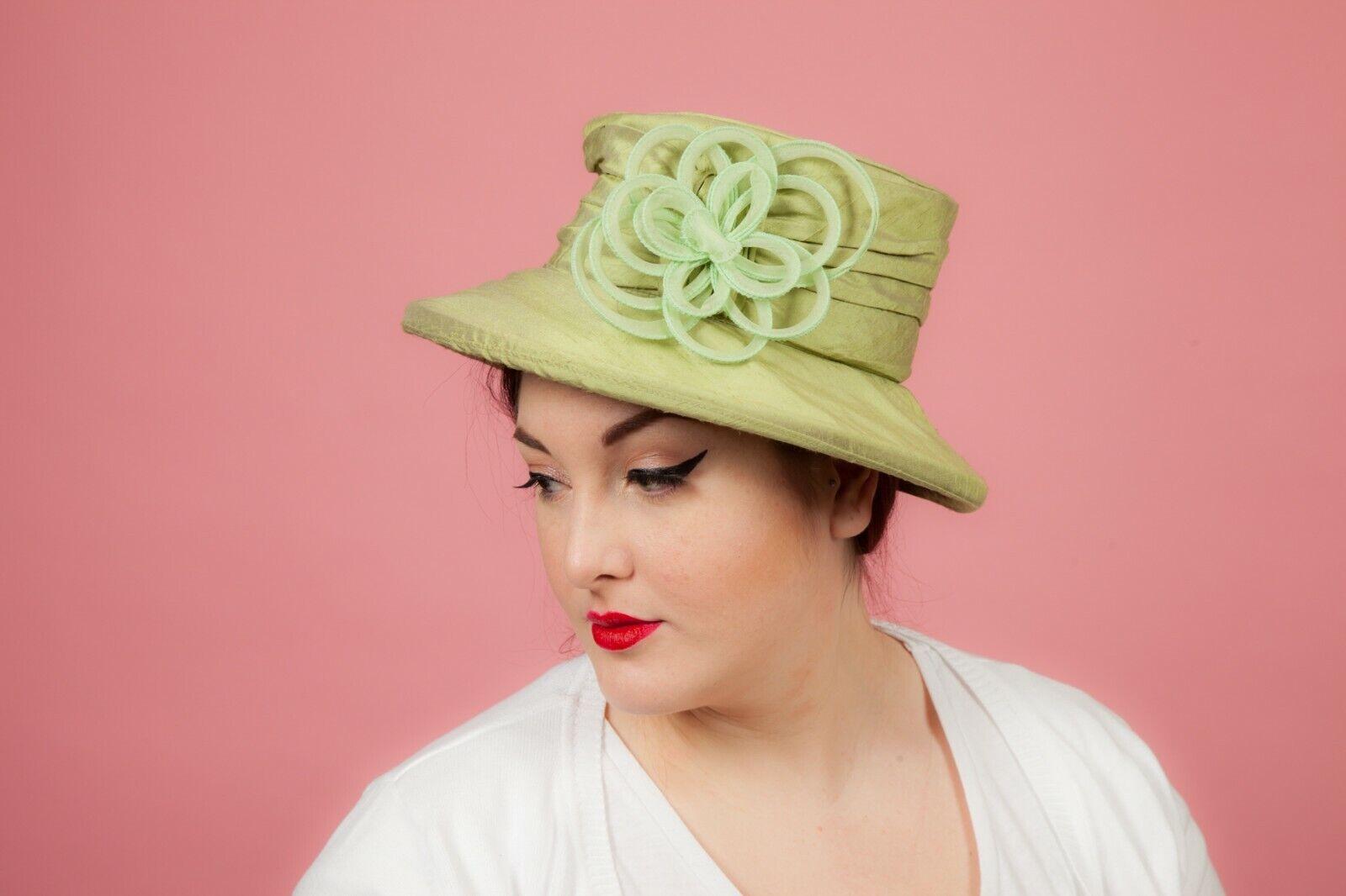 Ladies green wild silk formal hat by Mad Hatter - Wedding Races Event wear