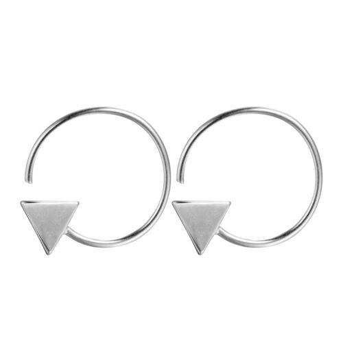 925 Silver Geometric Triangle Hoop Earrings for Women Girls Prevent Allergy Gift