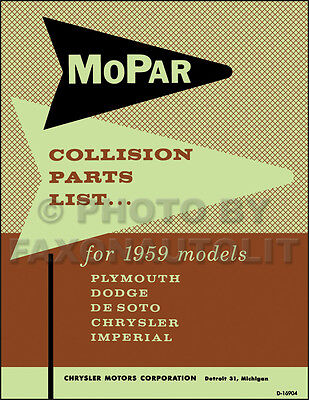 1964 Plymouth Body Parts Book Savoy Fury Valiant Belvedere Collision Catalog