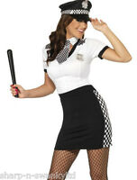 Ladies Sexy WPC Police Woman Cop & Hat Hen Do Fancy Dress Costume Outfit 8-18