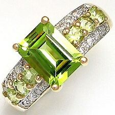 Gorgeous Size 7 Halo Green Peridot 18K Gold Filled Men Women's Anniversary Ring