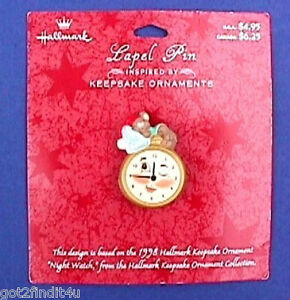Hallmark-PIN-Christmas-Vintage-POCKET-WATCH-MOUSE-Night-of-039-98-Ornament-NEW