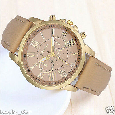 Women Roman Numerals Watch Faux Leather Watch Analog Quartz Wristwatch Beige US