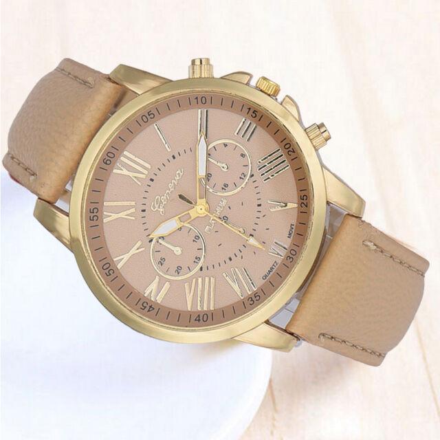 Women Roman Numerals Watch Faux Leather Watch Analog Quartz Wristwatch Beige US