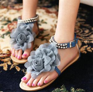5b2d23b373e new Womens Strappy shoes Big Flower roman gladiator sandals summer ...