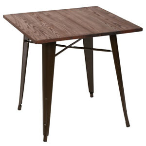 Image Is Loading New Square Dining Table Side Brown Table Metal