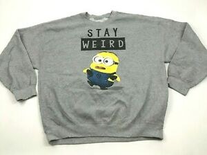 Despicable Me STAY WEIRD Sweatshirt Size Extra Large XL Crew Neck Pullover Gray