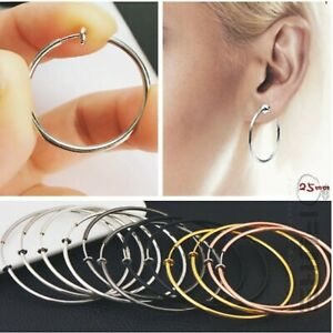 PAIR-of-WOMEN-039-S-SPRING-CLIP-ON-EAR-CLIPS-FAKE-HOOP-DANGLE-EARRINGS-GOTHIC-PUNK