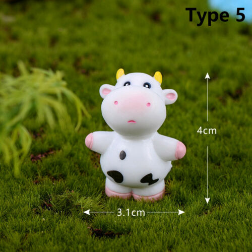 Micro Landscape Cow Figurines Miniature Dairy Cattle Animal Model Little Statue