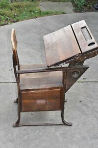 Details about Vintage Old School Chair Youth Wooden Student Desk Kids  Furniture 28.5\
