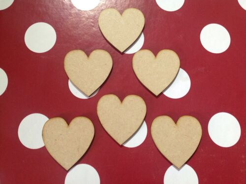 x 10. Hearts 7cm  Wooden Shapes 6mm Thick
