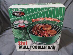 2 In 1 Portable Charbon Barbecue Grill & Glacière - Verte Football Champ Hayon Design Professionnel