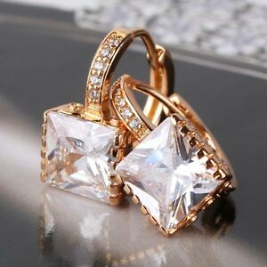 Attractive-woman-18k-gold-filled-white-sapphire-princess-leverback-earring