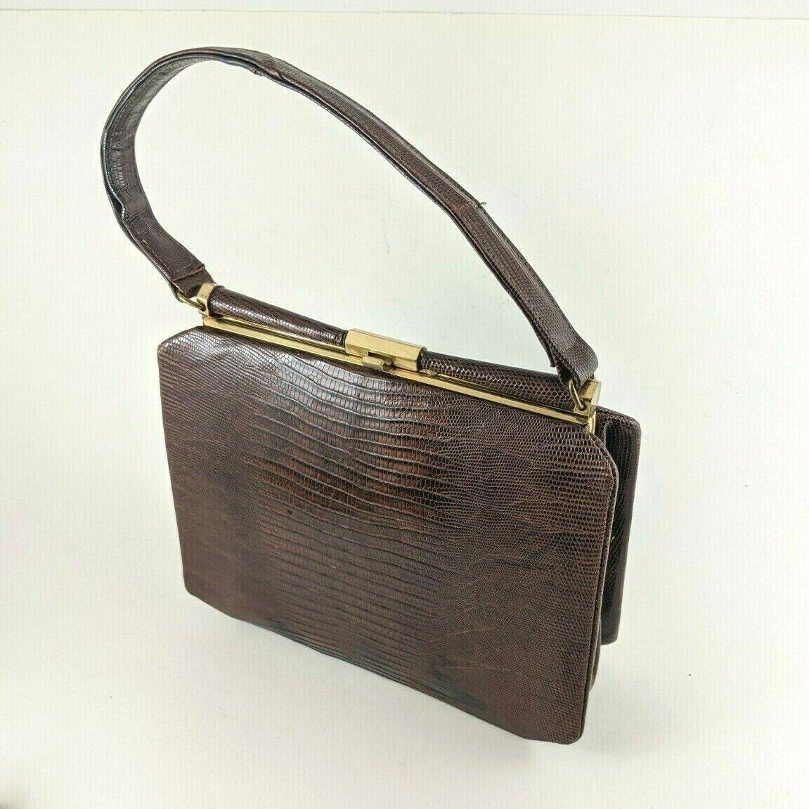Vintage Reptile Skin Purse Revits Brown Gold Tone Mid Century Lizard Hand Bag
