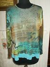 Tee shirt top voile polyester doublé PAUSE CAFE turquoise 46FR col rond