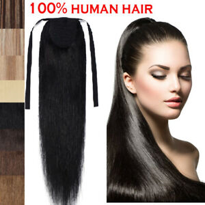 TOP-Straight-Drawstring-Clip-in-Ponytail-100-Real-Remy-Human-Hair-Extensions-R0