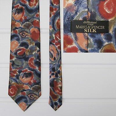 Affidabile Vintage Pura Seta Cravatta Da San Michele (marks & Spencer) - Motivo Astratto-mostra Il Titolo Originale Dolcezza Gradevole