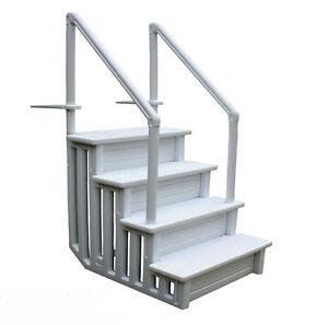 Above Ground Pool Ladder Heavy Duty White Non Slippery