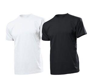Stedman-Pack-de-5-T-Shirt-pour-Hommes-Col-Rond-haut-185-g-m-blanc-OD-Noir-S
