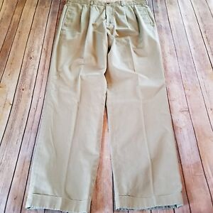 Brooks-Brothers-Size-38x34-Khaki-Elliot-Pleated-Cuffed-Advantage-Chino-Pants-Men