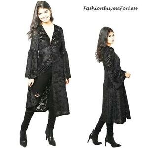Black-Goth-Faux-Silk-Paisley-Velvet-Sheer-Kimono-Maxi-Long-Duster-Cardigan-S-M-L