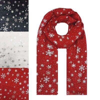 NEW Christmas Snow Flake Silver Foil Print Scarf Wrap Chiffon Stole Soft Long UK