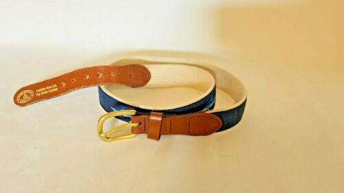 Navy Blue Surcingle Martha/'s Vineyard Themed Leather End Belt Hand Made in USA Vintage LEATHER MAN Ltd