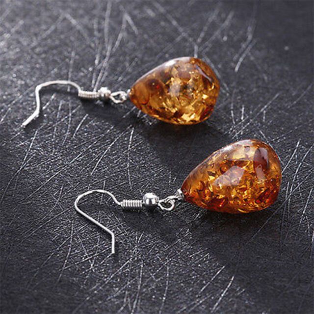Natural Polished Baltic Sterling Amber Color Earrings Jewelry Love Gifts Vintage