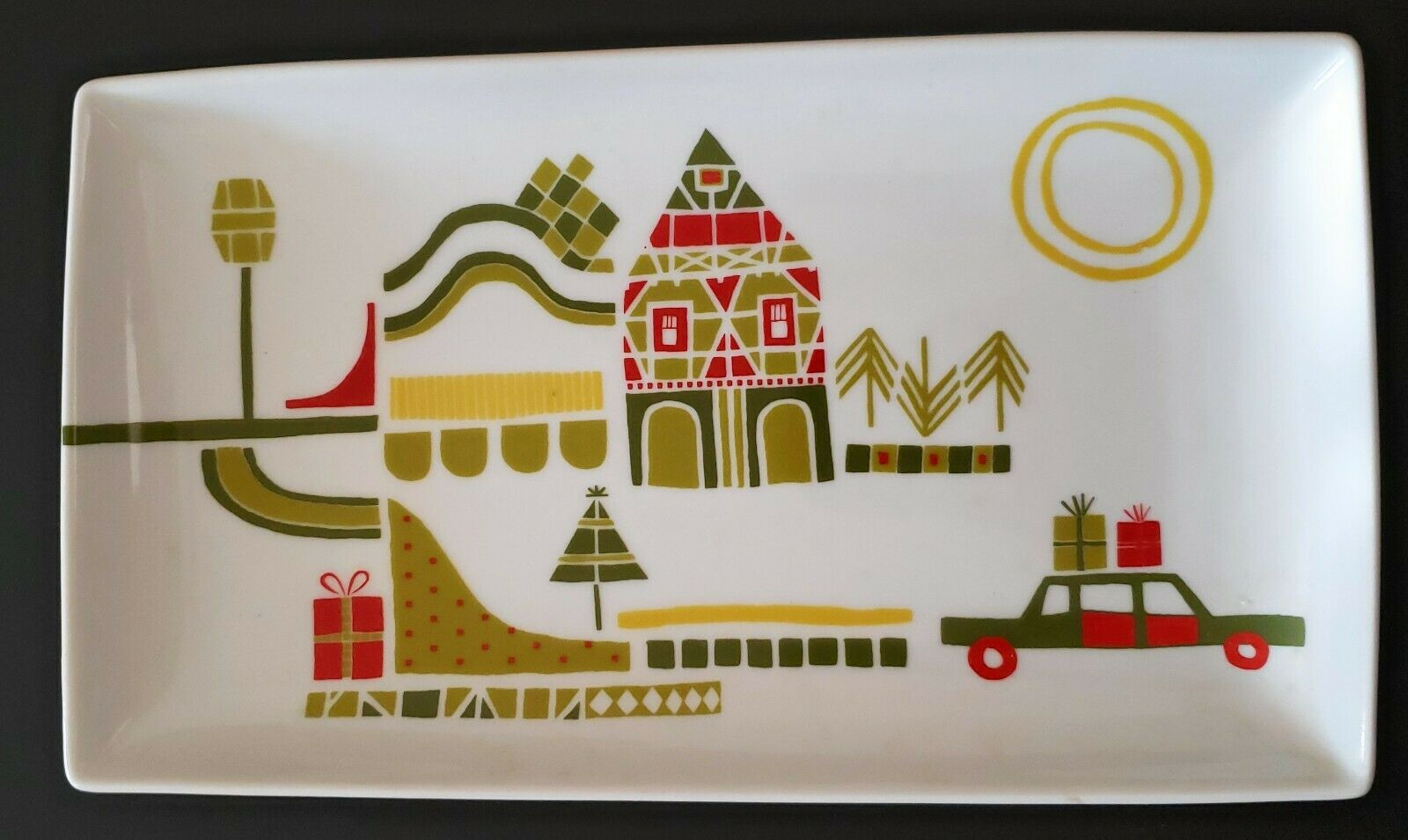 Crate Barrel Yule Town Christmas Tray Holiday Appetizer Platter Julia Rothman For Sale Online Ebay