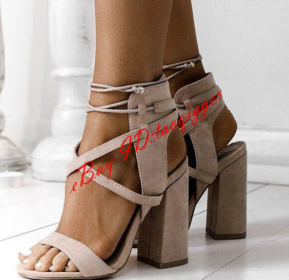 Roman Lace Up High Block Heels Sandals Womens Faux Suede Party Casual shoes Size