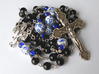GORGEOUS ✫ Natural Black Onyx ✫ ROSARY Fleur-de-lis Mary Immaculate Catholic