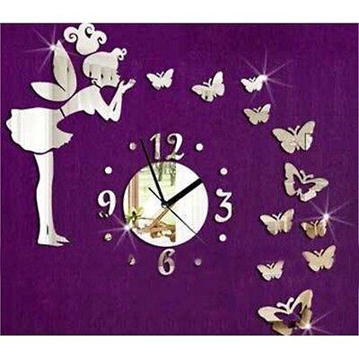 Modern Butterfly Fairy Clock 3D Art Mirror Wall Sticker Room Home Decor DIY LJ
