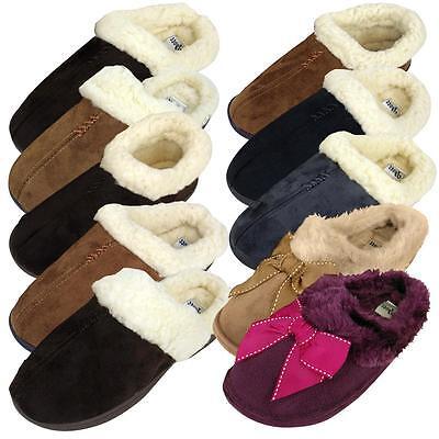 DAMEN KUNSTWILDLEDER Pelzig Pantoffeln warm Luxus Qualität Hausschuh Styles NEU