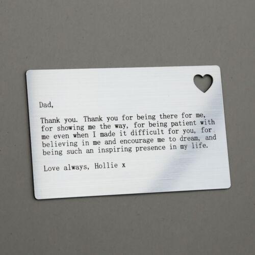 Personalizzata WALLET CARD INSERT regalo di Natale DAD papà regalo di Natale Idea