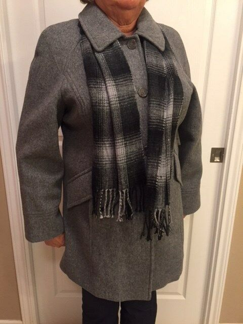 East 5th Ladies Charcoal Coatwith Scarf - Mid Length -NEW