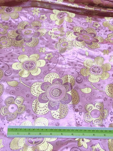 PINK YELLOW FLORAL BROCADE METALLIC FABRIC SARI TABLECLOTH DRESSS DRAPE