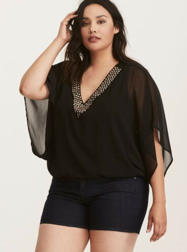 NWT-CLEARANCE SALE TORRID GLAM ROCK EMBELISHED BANDED BLOUSE