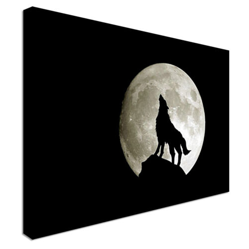 Any Size Wolf moon night picture Canvas Wall Art Print Large