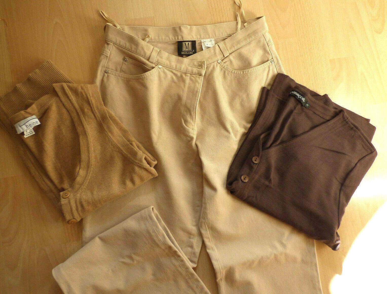 Damenpaket Outfit 3 Teile: Madelein Hose + Cardigan Gr.40 in Braun, Beige