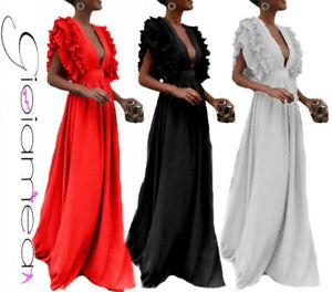 Vestito Overall Abito Donna Lungo Elegante Maxi Particolare Casual NnPw80OkZX