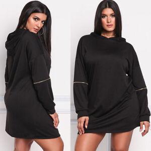 Women Plus Size Hooded Sweater Dress Long Sleeve Casaul Vestidos