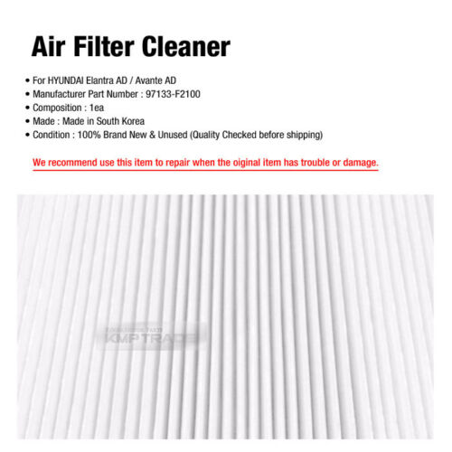 OEM Auto Parts Air Filter Cleaner 97133-F2100 For HYUNDAI 2017 Elantra AD