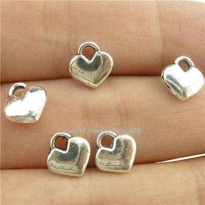 15111 100PCS Alloy Antique Silver Vintage Mini Love Heart Pendant Charm