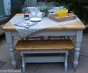 Details About 4 Ft Pine Farmhouse Kitchen Dining Table Chairs Bench Painted Colour Options F B