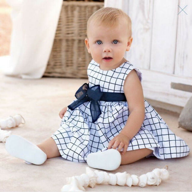 1pc Toddler Kid Baby Girl Cotton Plaid Dress Outfit Clothes Skirt Bow Blue White