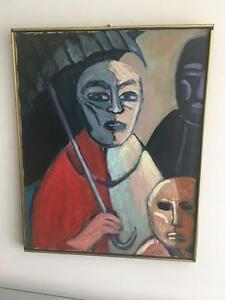 Manny Blanc Signed 1970 Listed Artist MCM Painting Mother Child Umbrella Framed